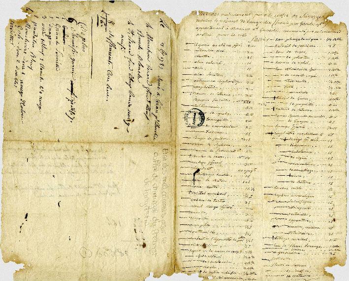 Coffre du chirurgien Guillaume Philippe Le Bouvier : liste des médicaments embarqués sur le Prévôt de Langristin (1786)