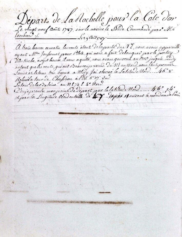 Première annotation du lieutenant Pellé de Quérac sur le livre de bord après avoir pris la mer