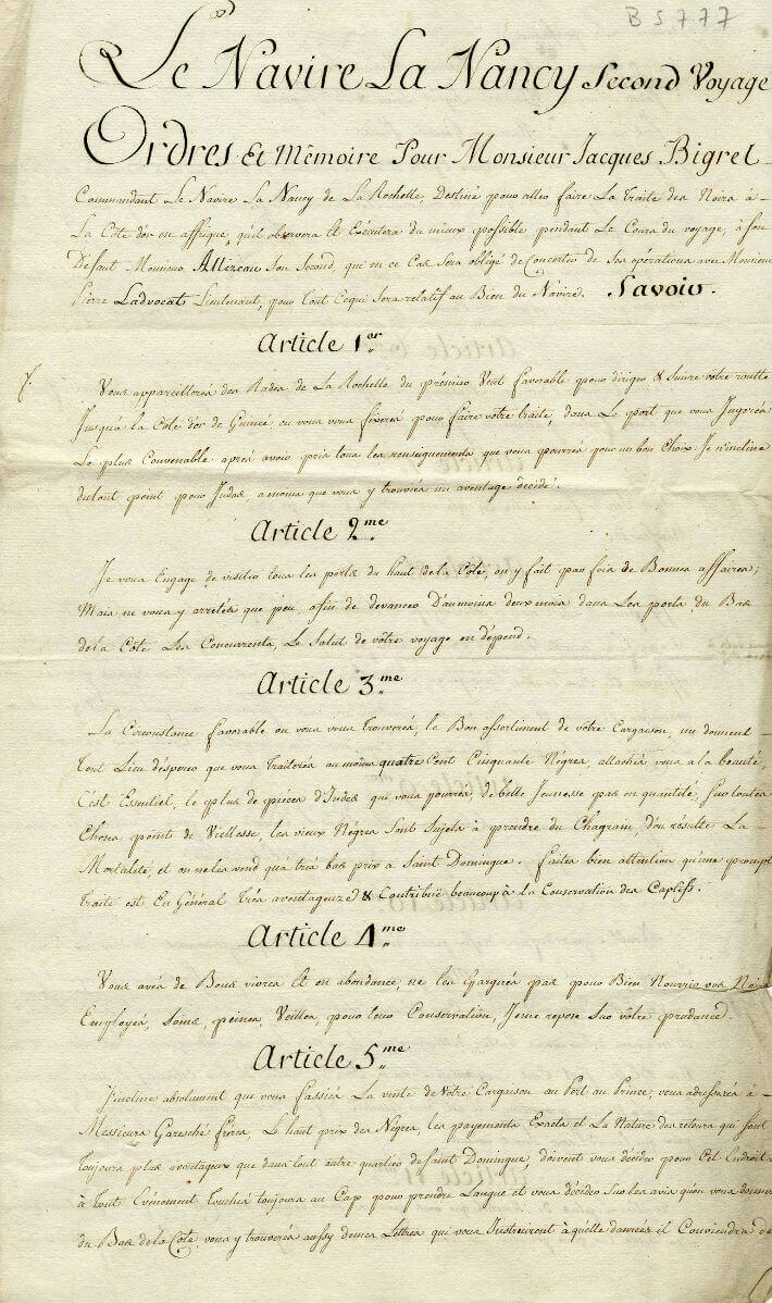 Ordres donnés par l'armateur Jacques Guibert au capitaine Jacques Bigrel, commandant le navire La Nancy, le 12 novembre 1777