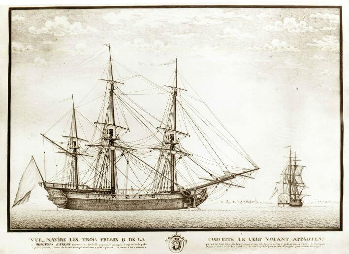 Vue du navire les Trois frères et de la corvette le Cerf volant appartenant aux armateurs Rateau frères.