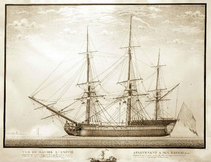 Vue du navire L'Amitié appartenant aux armateurs Rasteau frères.