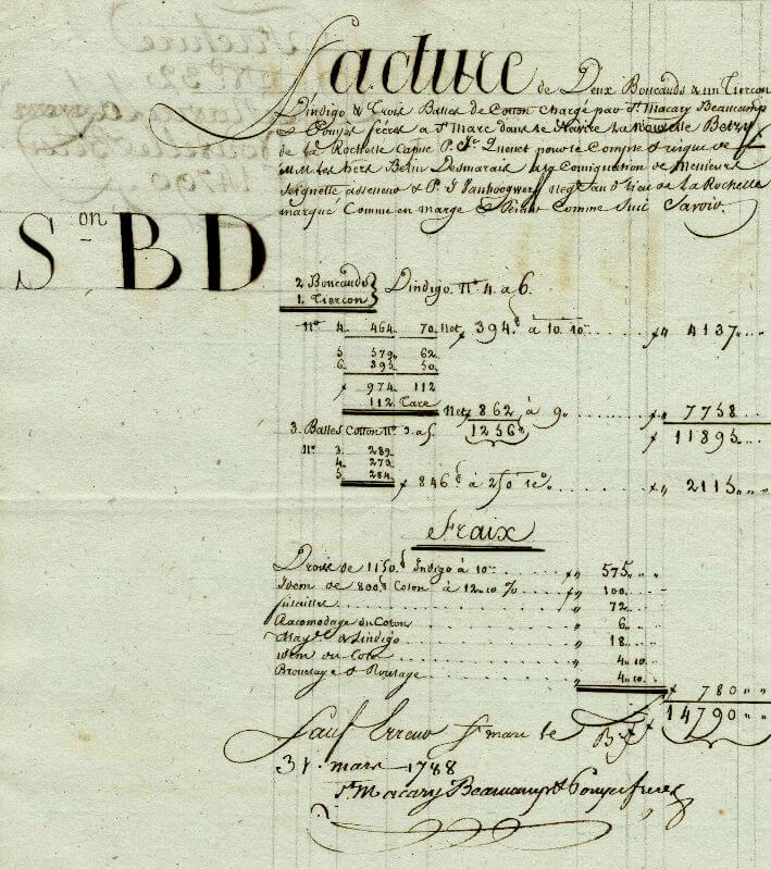 Facture du 31 mars 1788 pour de l'indigo et du coton