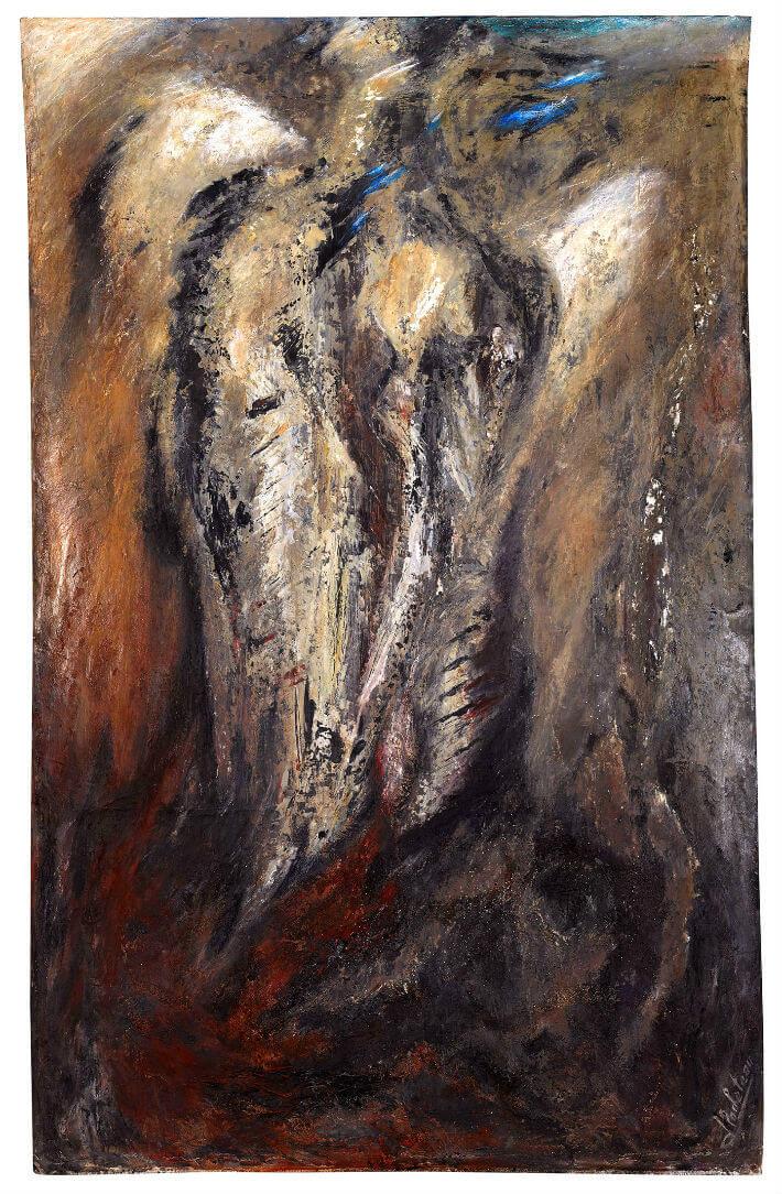 Jacqueline ROCHETEAU - ENVOL - Sur toile libre : techniques mixtes, acrylique, pigments, huile, pastel - 154 x 97 cm