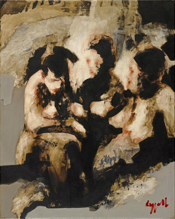 Adrien ROZZATTI - Baigneuses (9) - Glycero, asphalte pulvérisé, divers produits - 80 x 100 cm