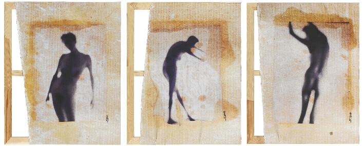 Sylvain SCHNEIDER - Traces - Photographies imprimées sur toile, montées sur châssis - 80 x 100 cm x 3 (triptyque)