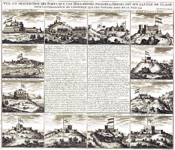 Vues et description des forts que les Hollandais, Anglais et Danois ont sur la côte de Guinée.