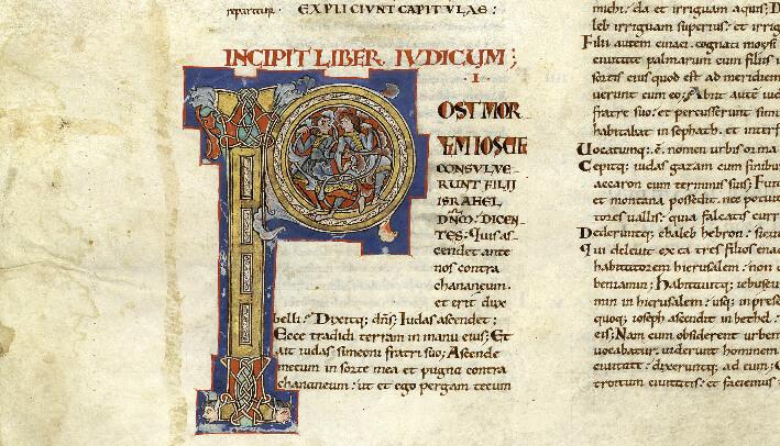 Enluminure du XIIe siècle - Extrait de la Bible de Saint-Yrieix  - Bibliothèque-Médiathèque de Saint-Yrieix