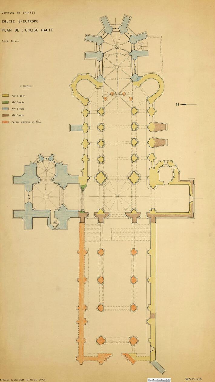 Église Saint-Eutrope de Saintes - Plan de l'église Haute - 1907 - Dupuy - DRAC Nouvelle Aquitaine - SDAP17 4151359