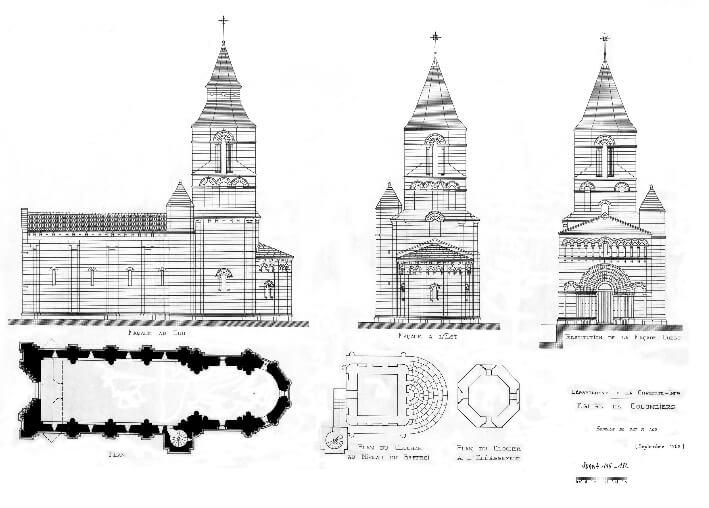 Église Saint-Maclou de Colombiers - Plans et élévations avec hypothèse de la restitution de la façade romane - 1908 - DRAC Nouvelle Aquitaine - SDAP17 1150182