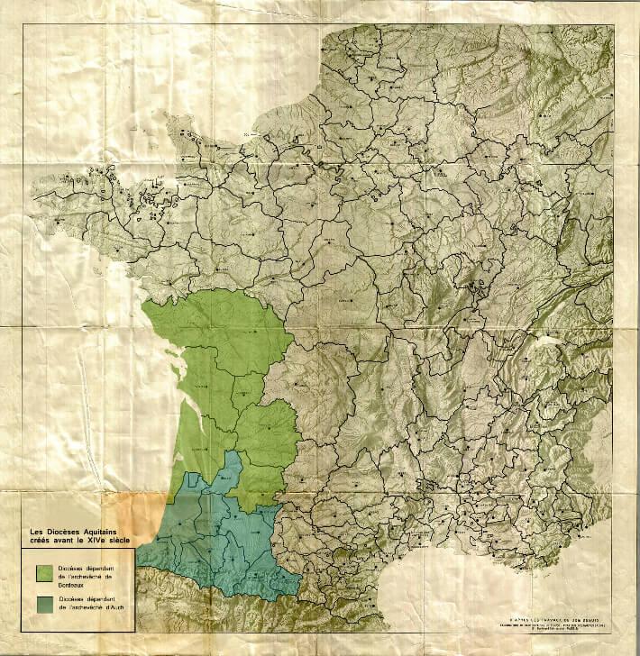 Carte des Diocèses Aquitains créés avant le XIVe siècle - Institut Ausonius - Université Bordeaux-Montaigne