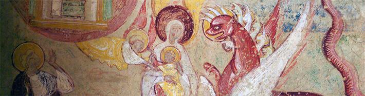Abbaye de Saint-Savin-sur-Gartempe (Vienne) - Peinture murale du porche - La Femme et le Dragon (Apocalypse) - 2013