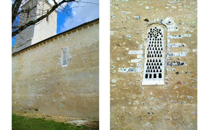 Église Saint-Martin-du-Petit-Niort de Mirambeau - Fenêtre à claveaux étroits et claustra - 2015