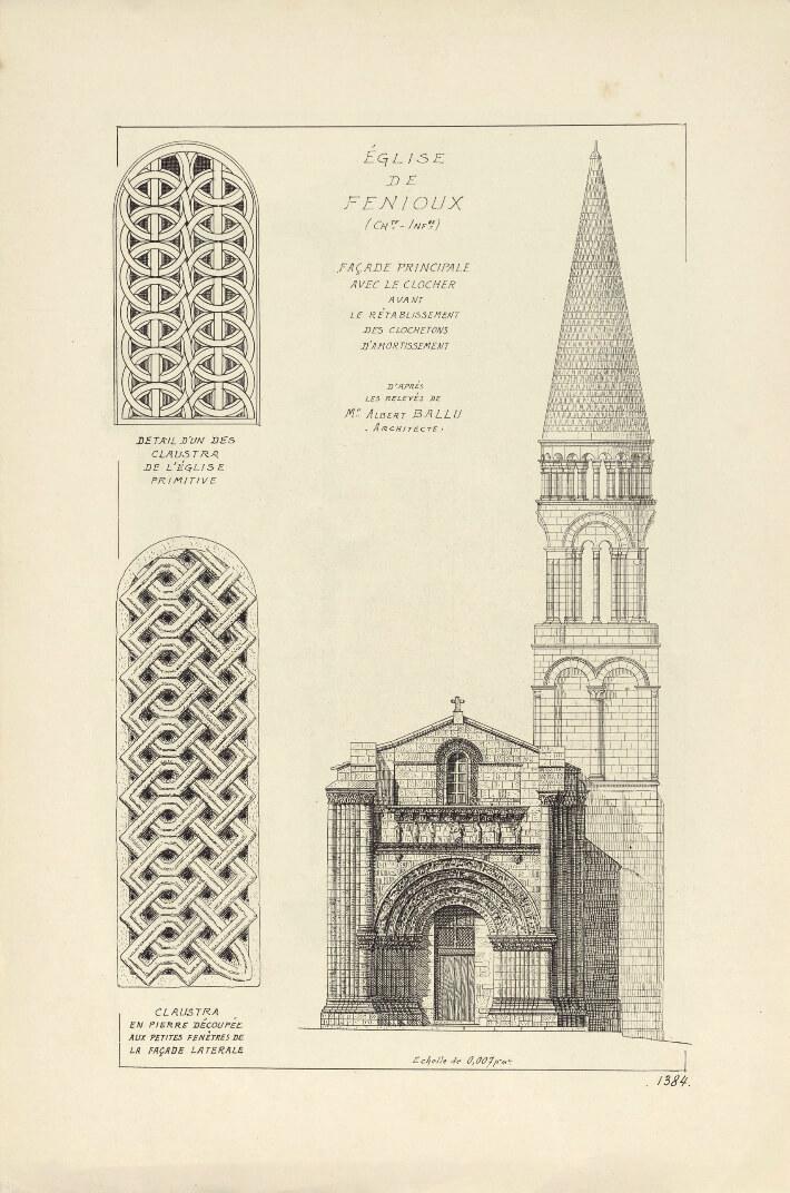 Église de Fenioux - Dessin d'après les relevés de Mr Albert BALLU, architecte - FR AD017 05 2Fi - Archives Départementales