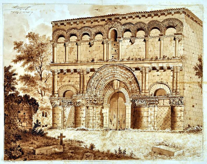 Église-Notre-de-Dame d'Echillais Dessin d'Etienne Bourdeau - 1842 - 4T55 - Archives Départementales