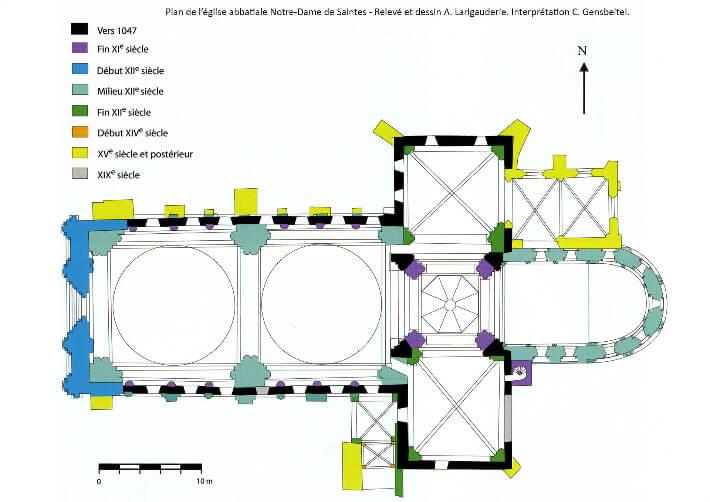 Église abbatiale Notre-Dame de Saintes - Plan interprétatif - Christian Gensbeitel/André Larigauderie