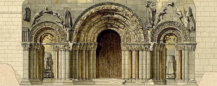 Église Notre-Dame de Chadenac - Élévation de la façade principale - 1886 - Nodet, Henri  - N°009420 - 0082/017/1002 - © Ministère de la Culture - Médiathèque de l'Architecture et du Patrimoine