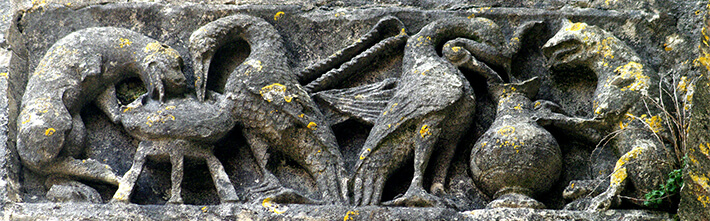 Église Saint-Symphorien de Grézac - Façade occidentale - Fable du renard et de la grue - 2011