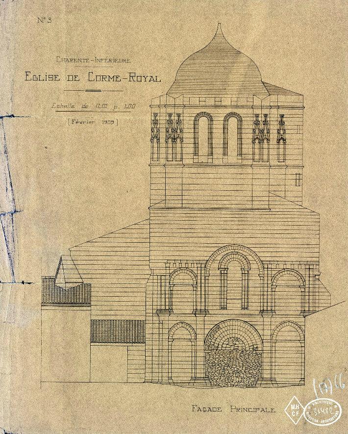 Église Saint-Nazaire de Corme Royal - Élévation de la façade principale - 1909 - S.N. - N° 036482 - 0082/017/2003 - © Ministère de la Culture - Médiathèque de l'Architecture et du Patrimoine