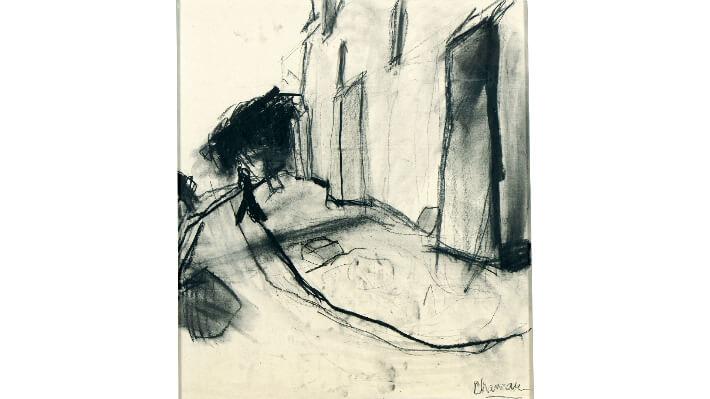 Chemin à Dompierre - 10 Craie noire sur carton // 80 x 71cm