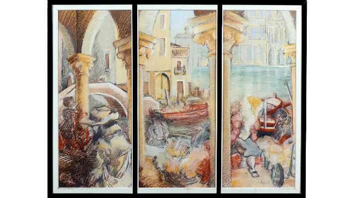 Le marché des fleurs à Venise - Pastel sur carton, encadrement avec vitres // 109 x 84 cm