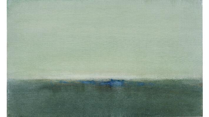Out of the blue #2 - Acryliques et pigments purs frottés, sur panneau de bois // 33 x 55 cm