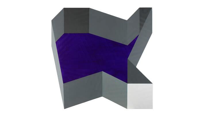 Grisé par le bleu - Acrylique sur toile marouflée sur bois // 1 m d'envergure