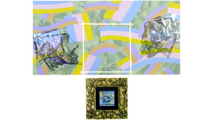 Entre-deux (à perte de vue) - Acrylique et huile sur toile tendue et contreplaqué, dispositif vidéo // 300 x 250 cm