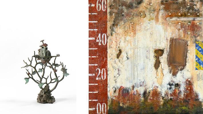 Sculpture : Arche : Les trois pommes / Peinture : Fragment n° 10360 - Bronze - 13 x 26 x 33(H) cm // Peinture - 120 x 120 cm
