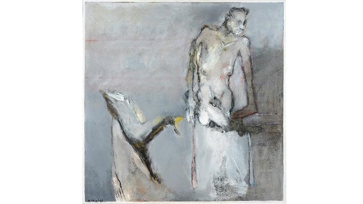 La chaise renversée - Acrylique sur toile/craie grasse // 120 x 120 cm