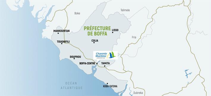 Carte de la Préfecture de Boffa en Guinée - © Dépt17 - 2017