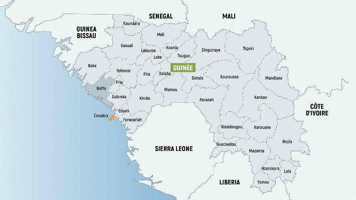 Carte de la Guinée - © Dépt17 - 2017