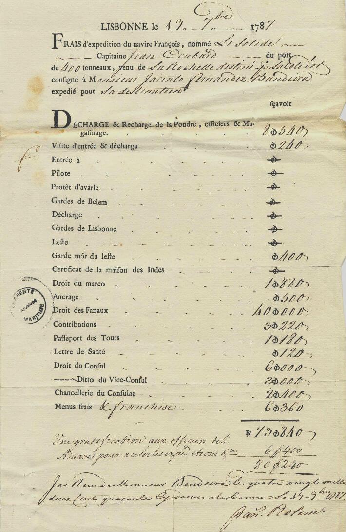 Frais engendrés par l'escale à Lisbonne : taxes diverses, frais de chargement.