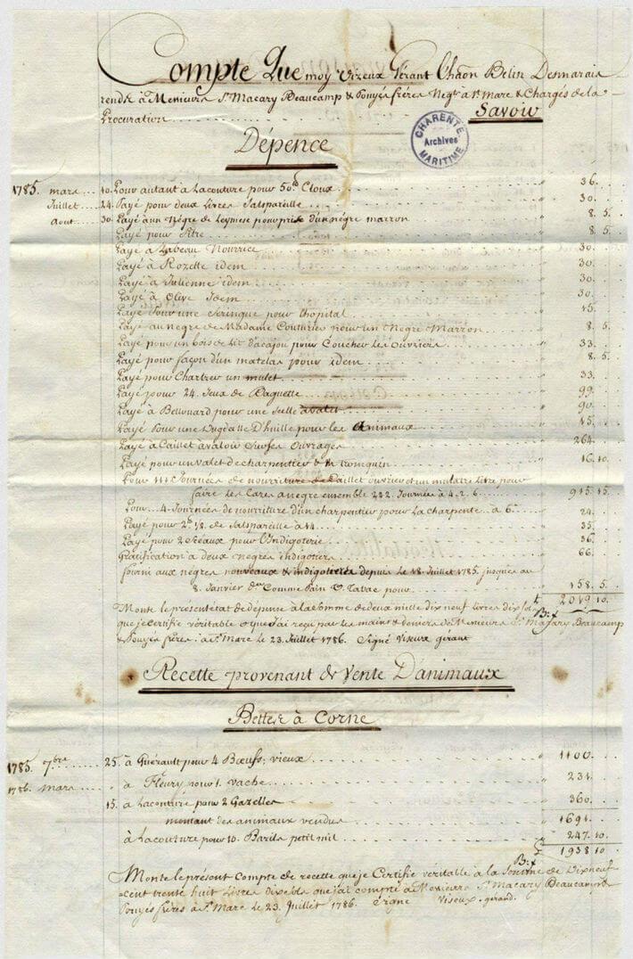 Compte général annuel par le gérant Vizeux de sa gestion de l'habitation Belin-Desmarais à l'Artibonite (Saint-Domingue).