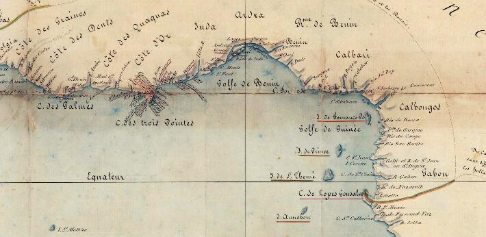 Extrait de la carte sur l'établissements des Européens sur les côtyes d'Afrique