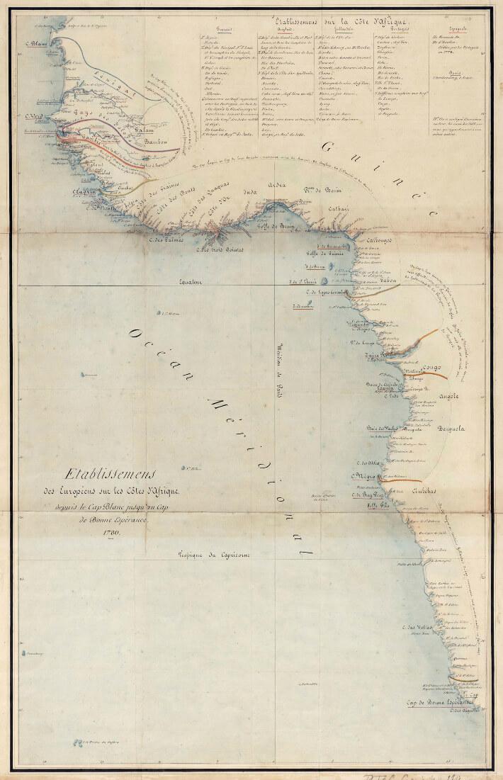 Etablissements des Européens sur les Côtes d'Afrique depuis le Cap Blanc jusqu'au Cap de Bonne Espérance.1780