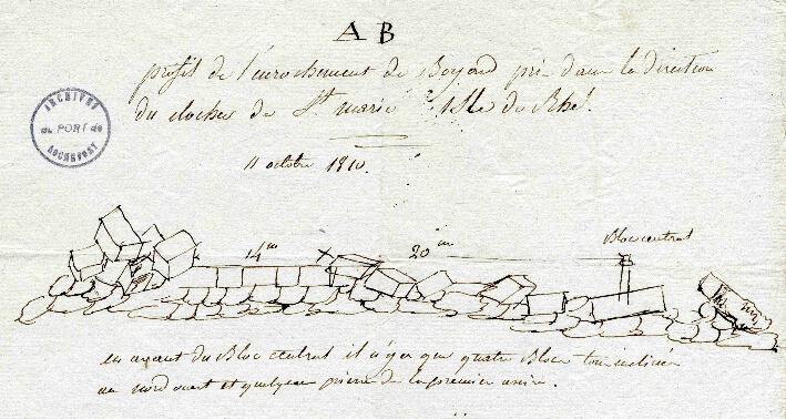 Croquis de l'enrochement après 6 ans de travaux - Dessin de 1810