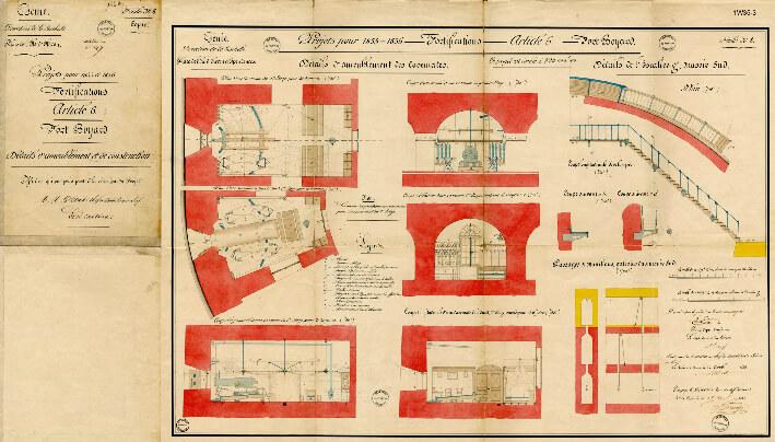 Détails  d'ameublement et de construction - Plan  de 1855