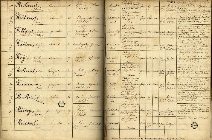 Registre des détenus, 1871