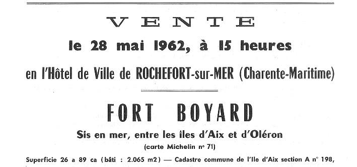 Annonce de la vente du fort Boyard, Ministère des Finances, Service des Domaines, détail, 1962