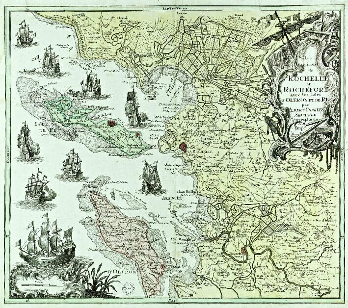 Carte des côtes charentaises au milieu du 18e siècle