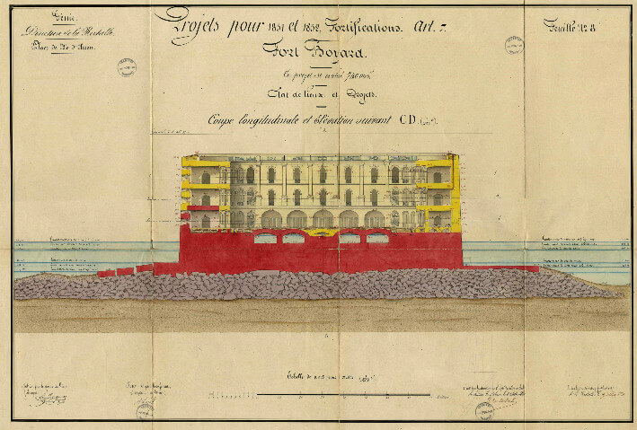 Fort Boyard, coupe longitudinale - 1851