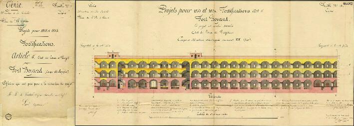 Fort Boyard, coupe et élévation développée - 1852