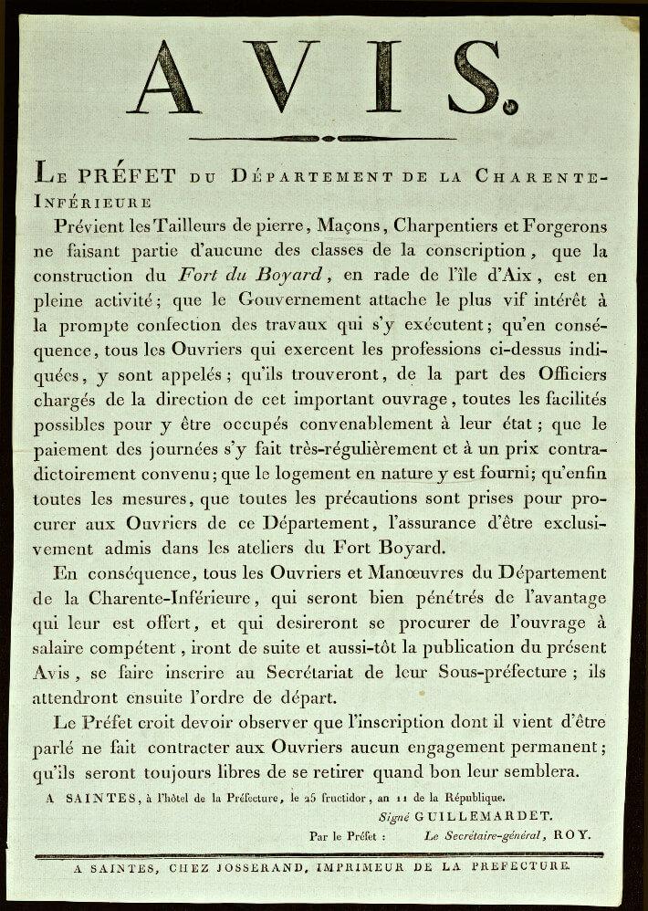 Affiche de recrutement d'ouvriers pour Boyardville - 1803