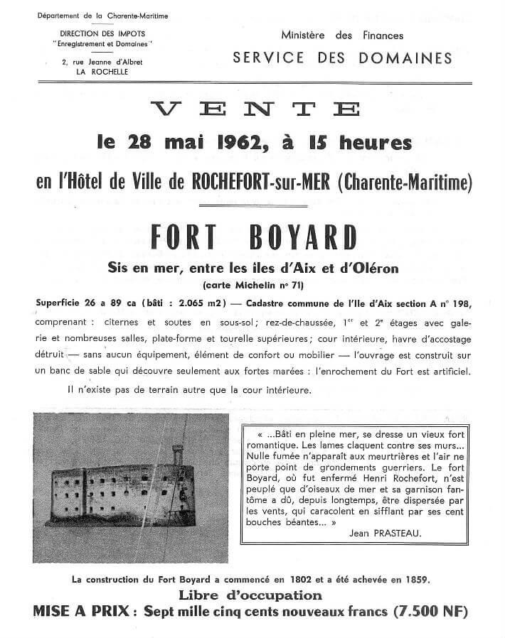 Annonce de la vente du fort Boyard Ministère des Finances, Service des Domaines, 1962