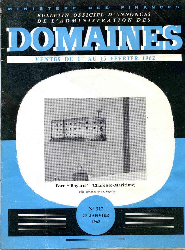 Couverture du Journal des domaines, 1962 – Annonce de la vente du fort Boyard