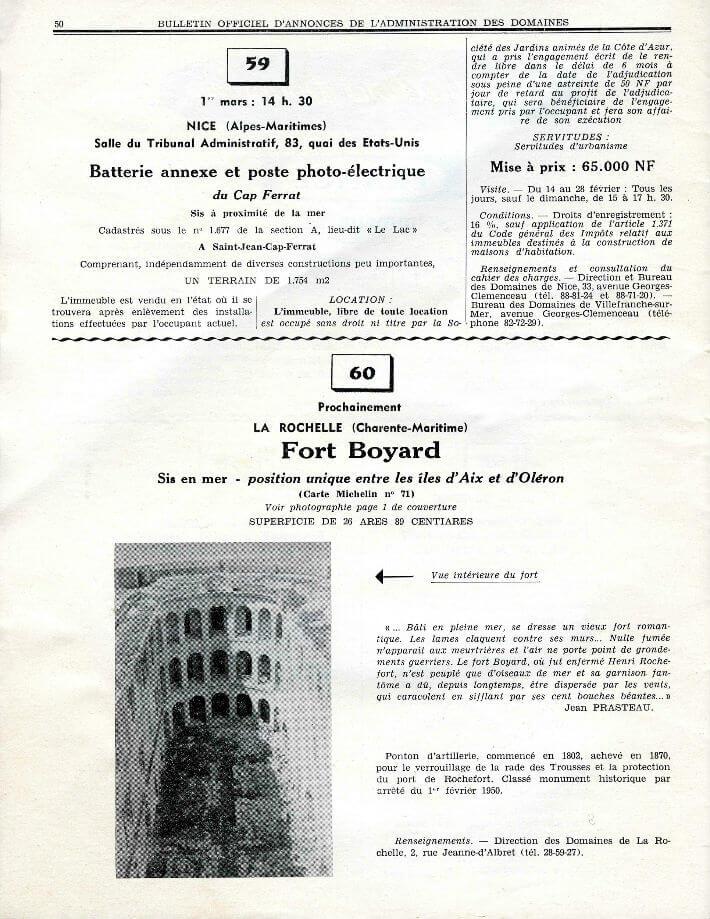 Journal des domaines, 1962 - Annonce de la vente du fort Boyard