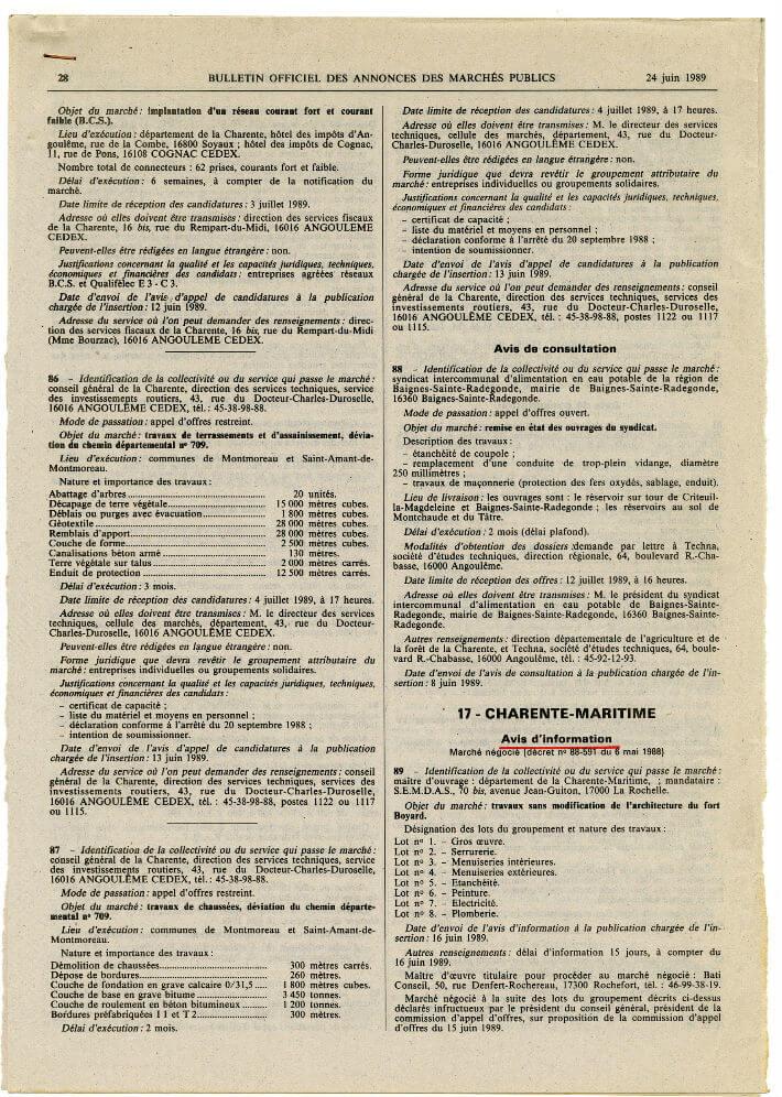 Bulletin officiel des annonces des marchés publics – avis d'informations marché de travaux pour le Fort Boyard - 1989
