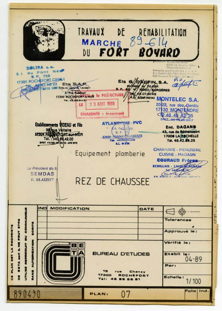 Réhabilitation de Fort Boyard – plan de 1989 - Equipement plomberie, rez-chaussée.