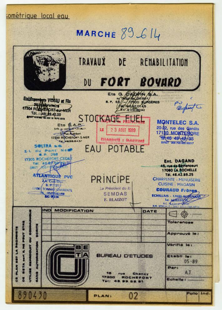 Réhabilitation de Fort Boyard – plan de 1989 - Stockage fuel et eau potable