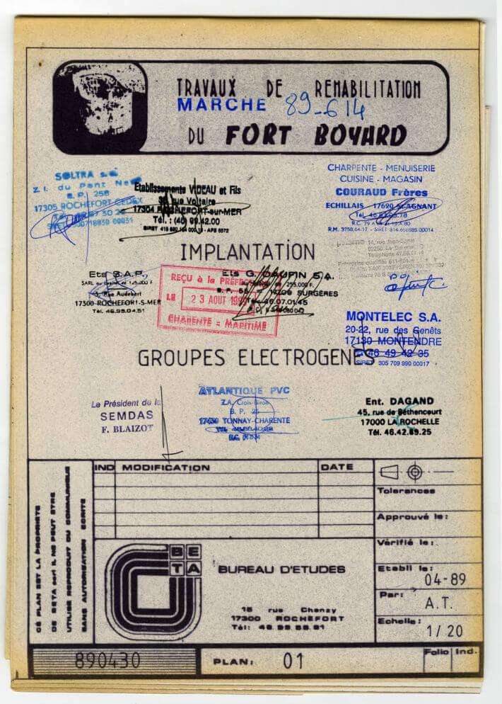 Réhabilitation de fort Boyard – plan de 1989 - Implantation groupes électrogènes.